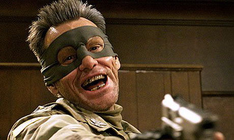 Taking aim … Jim Carrey as Colonel Stars and Stripes in Kick-Ass 2.