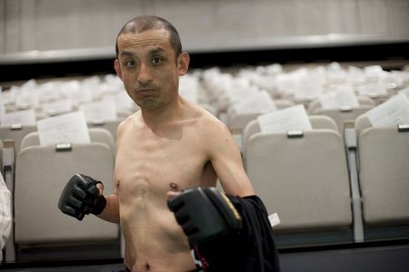 """Sambo"" Shintaro,  Doglegs co-founder, and star of the documentary film Doglegs, strikes a fighting pose in Japan in this handout photo"