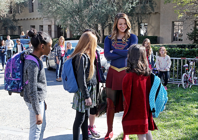 """""""Falling"""" -- Kara turns on her friends and the citizens of National City after being exposed to Red Kryptonite makes her malicious and dangerous. Also, Cat appears on THE TALK to discuss Supergirl, on SUPERGIRL, Monday, March 14 (8:00-9:00 PM, ET/PT) on the CBS Television Network. Photo: Michael Yarish/CBS ©2016 CBS Broadcasting, Inc. All Rights Reserved"""